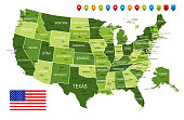 USA Green Map with National Flag and Navigational Icons