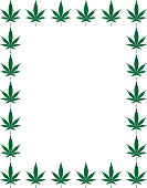 Vector illustration of a rectangle frame made up of green marijuana leaves.