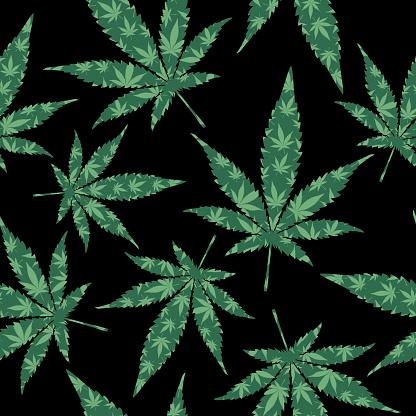 Green Marijuana Leaves Seamless Pattern