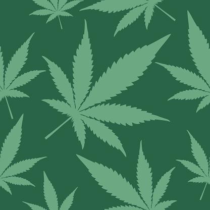 Green Marijuana Seamless Pattern