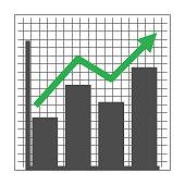 istock Green marketing stat arrow going upward. 1338877511