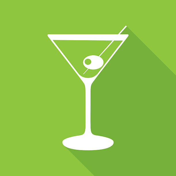 Green Martine icon Vector illustration of a white martini glass with shadow on a green square background. martini glass stock illustrations