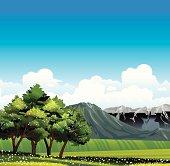 Green meadow amd flowering trees.