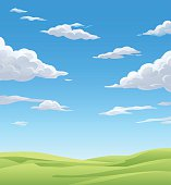 Vector illustration of a spring or summer landsapce with green meadows under and a cloudy blue sky.