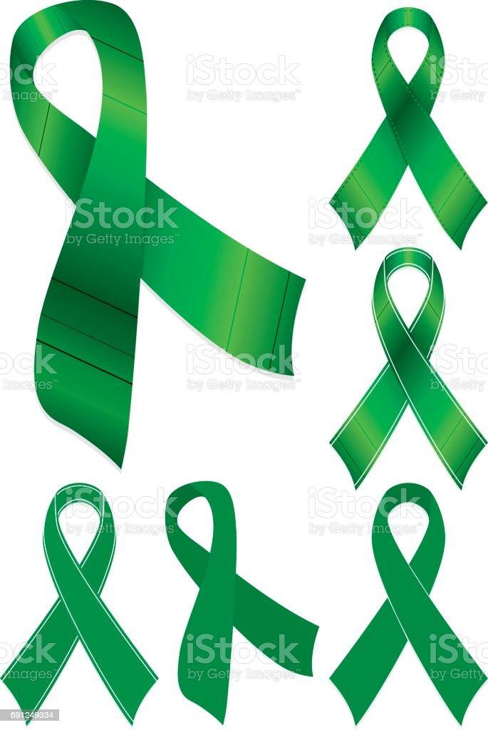 Green Mental Health Brain Injury Scoliosis Awareness Ribbons Set Royalty Free