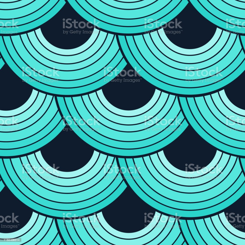 Green Mermaid Scales Seamless Pattern Drapes Background