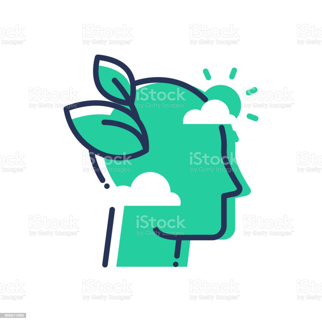 Green Mind - modern vector single line icon vector art illustration