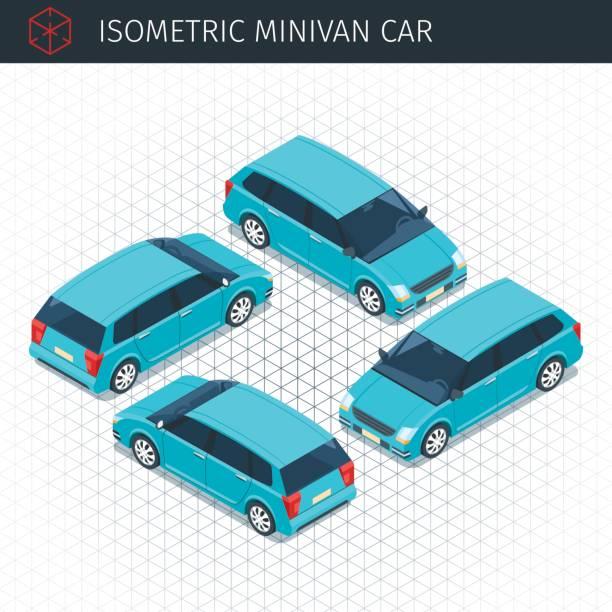 green minivan car Isometric green minivan car. 3d vector transport icon. Highly detailed vector illustration hatchback stock illustrations