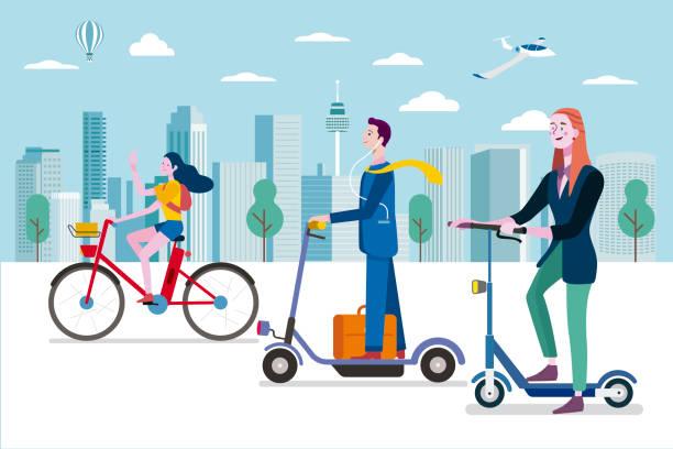 stockillustraties, clipart, cartoons en iconen met groene mobiliteit - onderweg