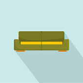 Green modern sofa icon. Flat illustration of green modern sofa vector icon for web design