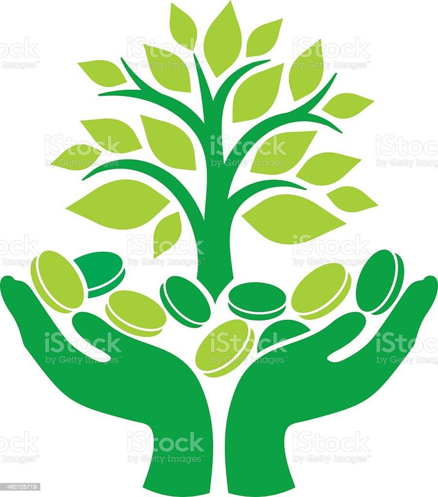 Green money tree vector art illustration