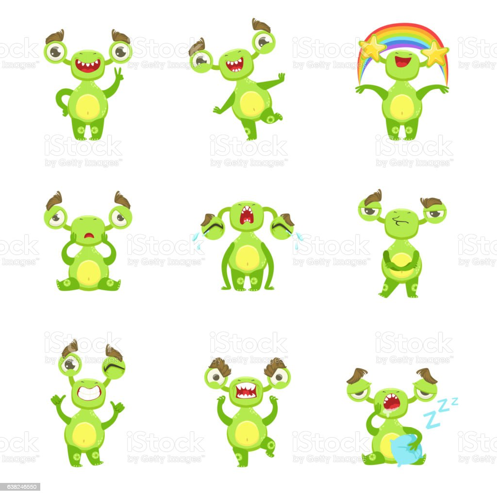 Green Monster Character Different Emotions And Situations vector art illustration