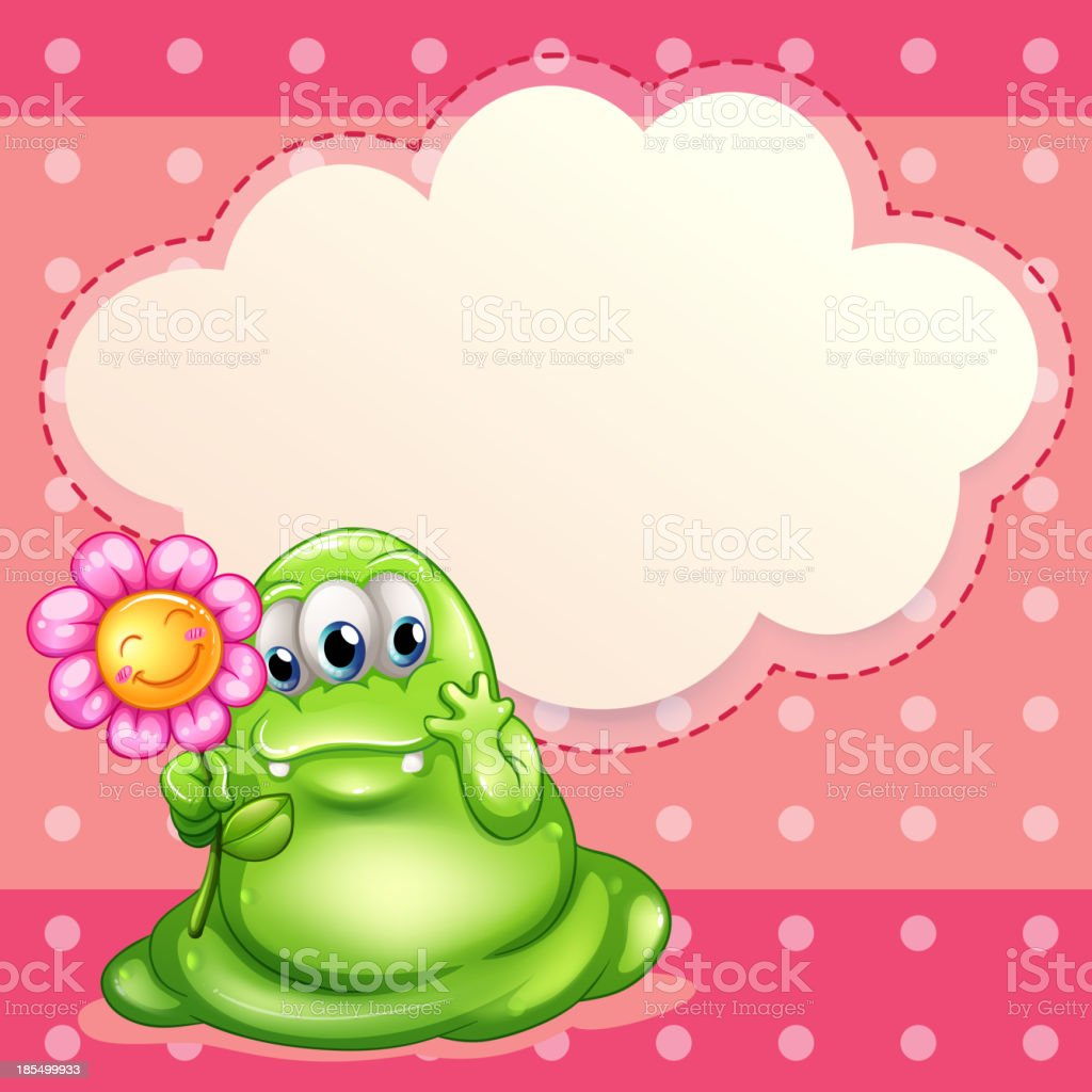 green monster holding a flower royalty-free green monster holding a flower stock vector art & more images of alien
