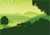 Panorama view of a green sunrise over mountains and a lake with a farmhouse and trees in silhouette in the foreground.Don't want the sun rays? Simply click 'em off.  Art on easily edited  layers. Download also includes a large high-res jpeg.