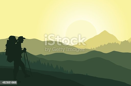Vector background. Green mountain landscape in the summe. Eps 10. Sunset in the mountains.