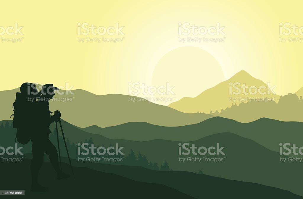 Green mountain landscape with silhouette of tourist vector art illustration
