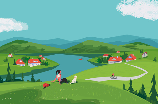 Mountain green valley scene vector landscape. Summer season scenic view poster. River side village in mountains. Girl, dog travel to countryside cartoon illustration. Nature outdoors trip background