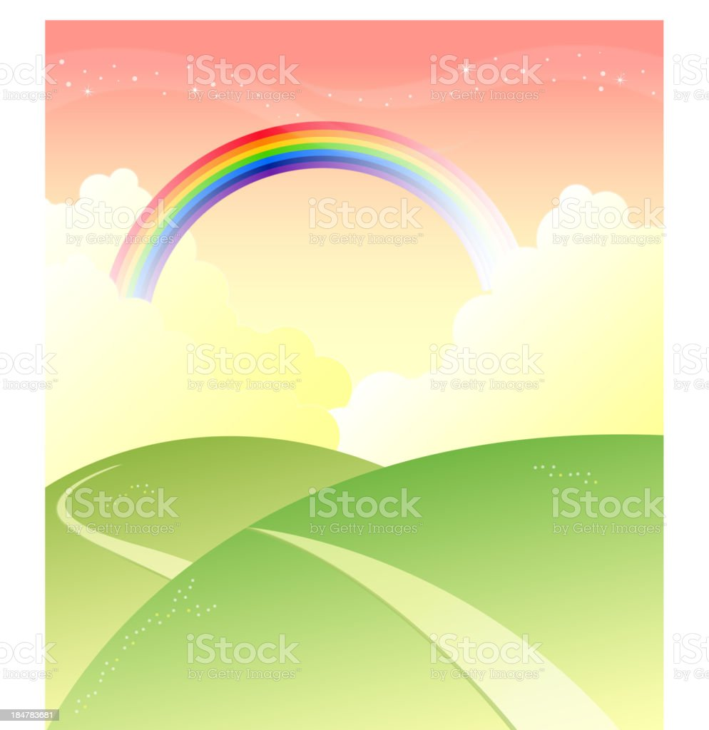 Green mountain with rainbow in sky royalty-free stock vector art
