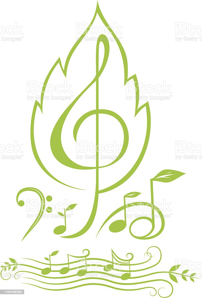 Green Musical Symbols Notes Stock Vector Art More Images Of Bass