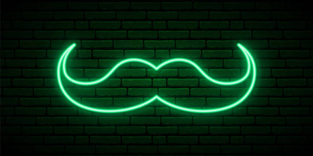 ilustrações de stock, clip art, desenhos animados e ícones de green mustache neon sign. vector design for web banner, logo, emblem and label. st patricks day vector symbol. - santa beard neon