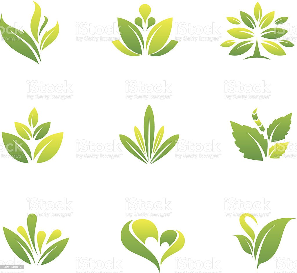 Green nature and tree symbol vector art illustration