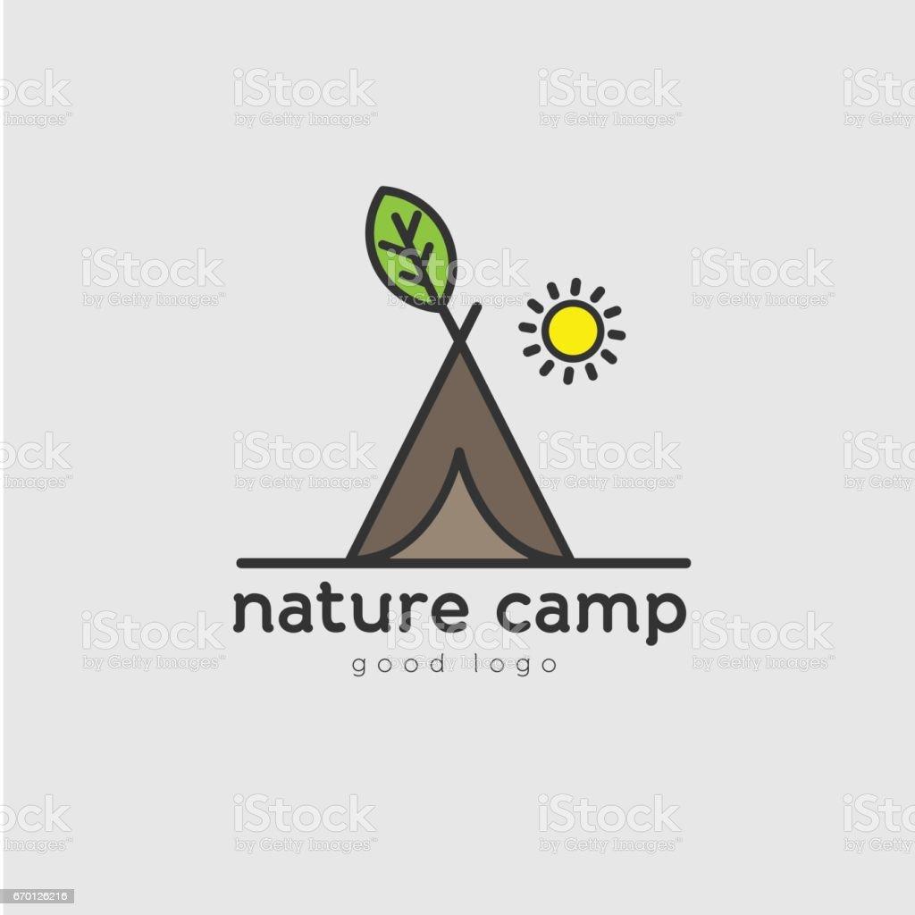 Camping Green Eco Nature Logo Design