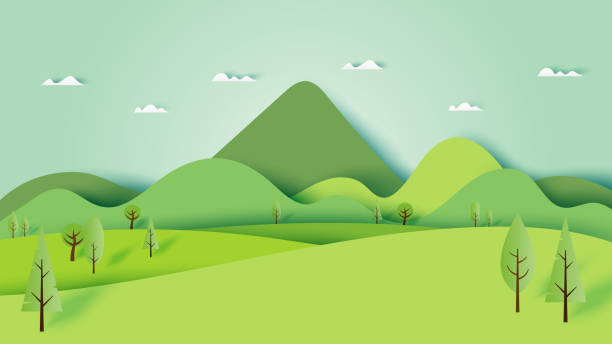 Green nature forest landscape scenery banner background paper art style. Green nature forest landscape scenery banner background paper art style.Vector illustration. hill stock illustrations
