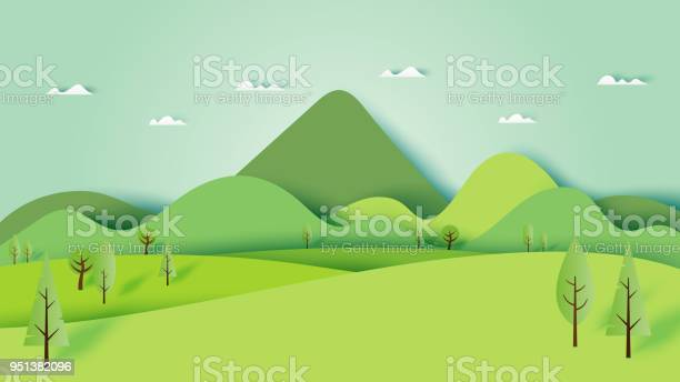 Green Nature Forest Landscape Scenery Banner Background Paper Art Style - Arte vetorial de stock e mais imagens de Ao Ar Livre
