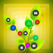 Environmental infogrpahic design: one, two, three, four and five steps over green leaves.