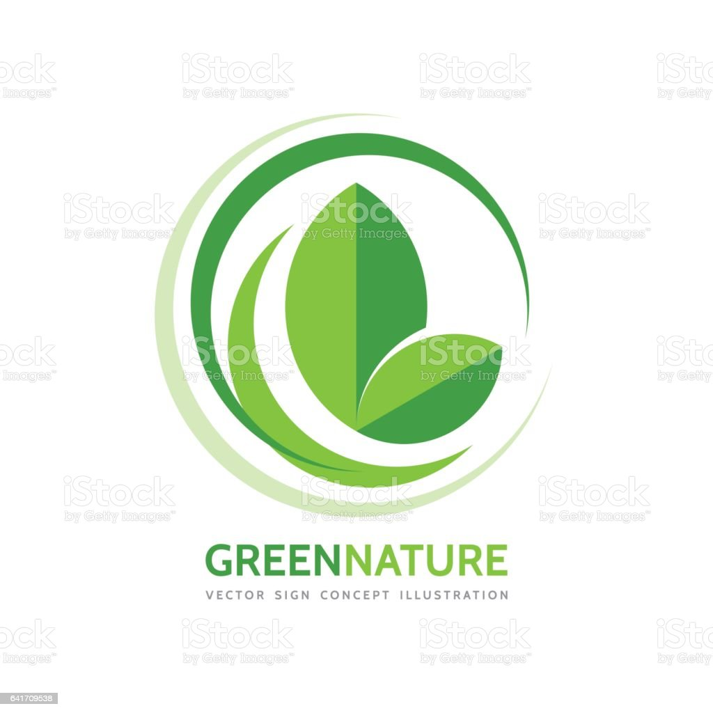 Green nature - vector business logo template concept illustration. Leaves and design elements. Organic product. vector art illustration