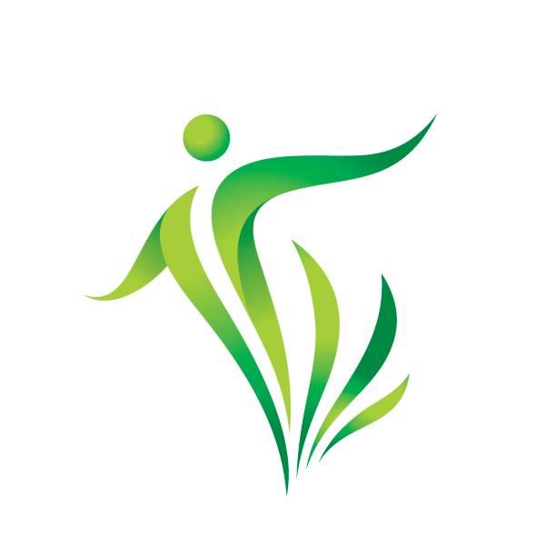 illustrations, cliparts, dessins animés et icônes de calibre d'icône de vecteur vert nature. signe de santé. illustration de concept fitness femme. caractère humain avec des feuilles. icône de la liberté. élément de design. - liberté