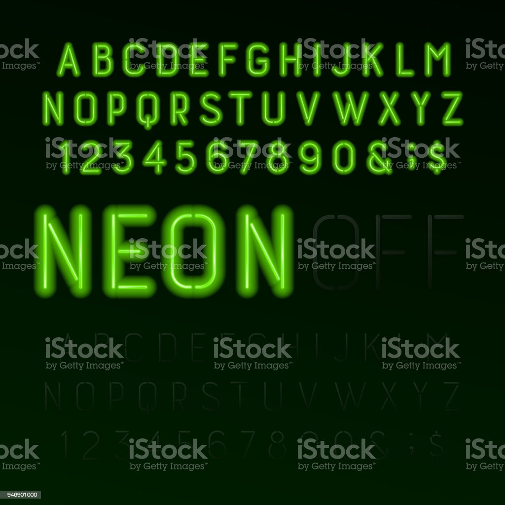 Green Neon Tube Alphabet Font Neon Color Letters Numbers And Symbols ...