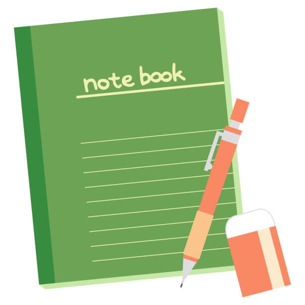 緑色のノートとシャープペンシル、消しゴム ベクターアートイラスト