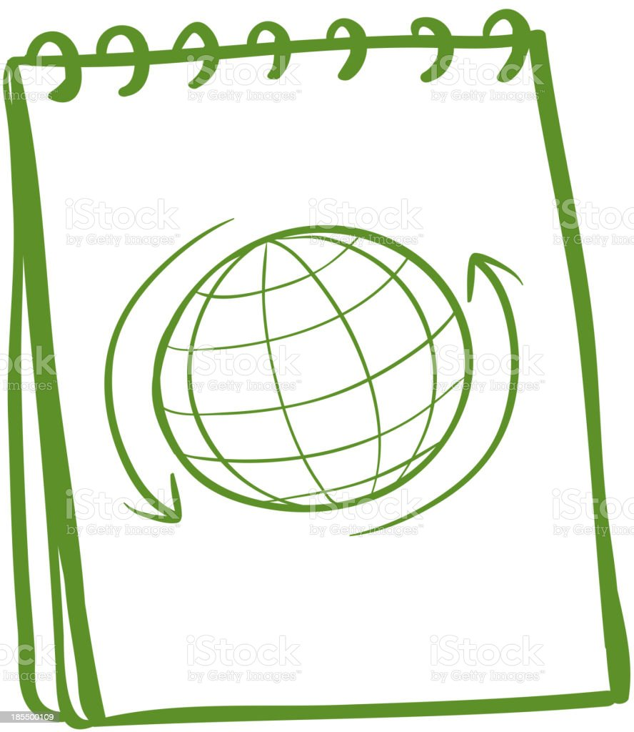 green notebook with drawing of globe at the cover page royalty-free green notebook with drawing of globe at the cover page stock vector art & more images of at the edge of