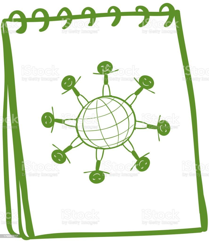 녹색 노트북, 그림이요 kids 입석 전 royalty-free 녹색 노트북 그림이요 kids 입석 전 가장자리에 대한 스톡 벡터 아트 및 기타 이미지