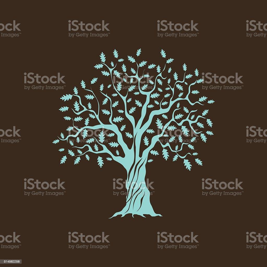 green oak vector art illustration