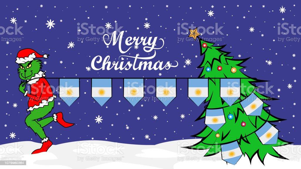 Ogro verde roba la bandera nacional de la ilustración Argentina en cartel de Navidad - ilustración de arte vectorial