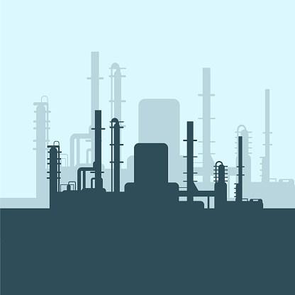 Green oil factory silhouette on white background. Petroleum industry. Vector template for web, infographics or interface design. Oil and gas market. Energy business and environmental problems