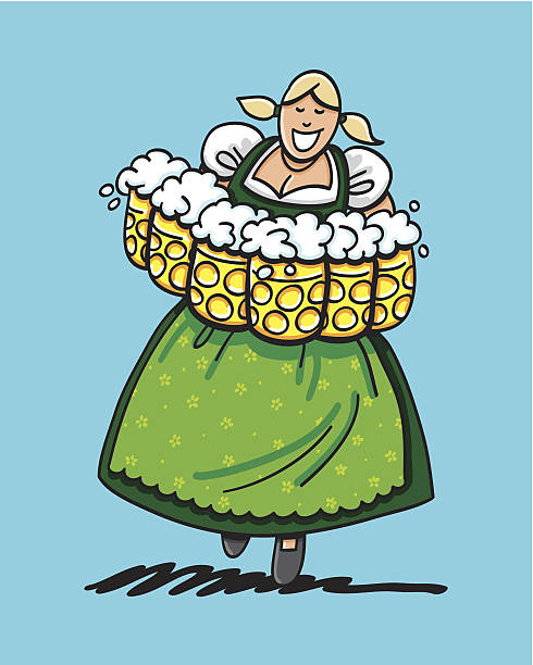 Green Oktoberfest Dirndl Beer Waitress Sketchy vector illustration of a happy Oktoberfest Waitress with many beer steins. She's wearing a green Dirndl outfit. Line art, color and background are on separate layers, so you also can use the illustration on your own background. The colors in the .eps-file are ready for print (CMYK). Included files: EPS (v8) and Hi-Res JPG. doodle NOT black and white stock illustrations