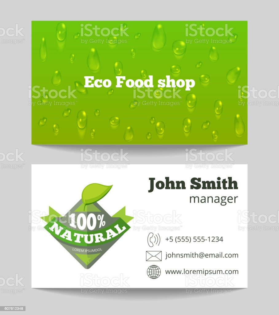 Green Organic Eco Food Shop Business Card Vektor Illustration