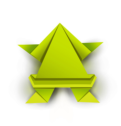 Green origami frog
