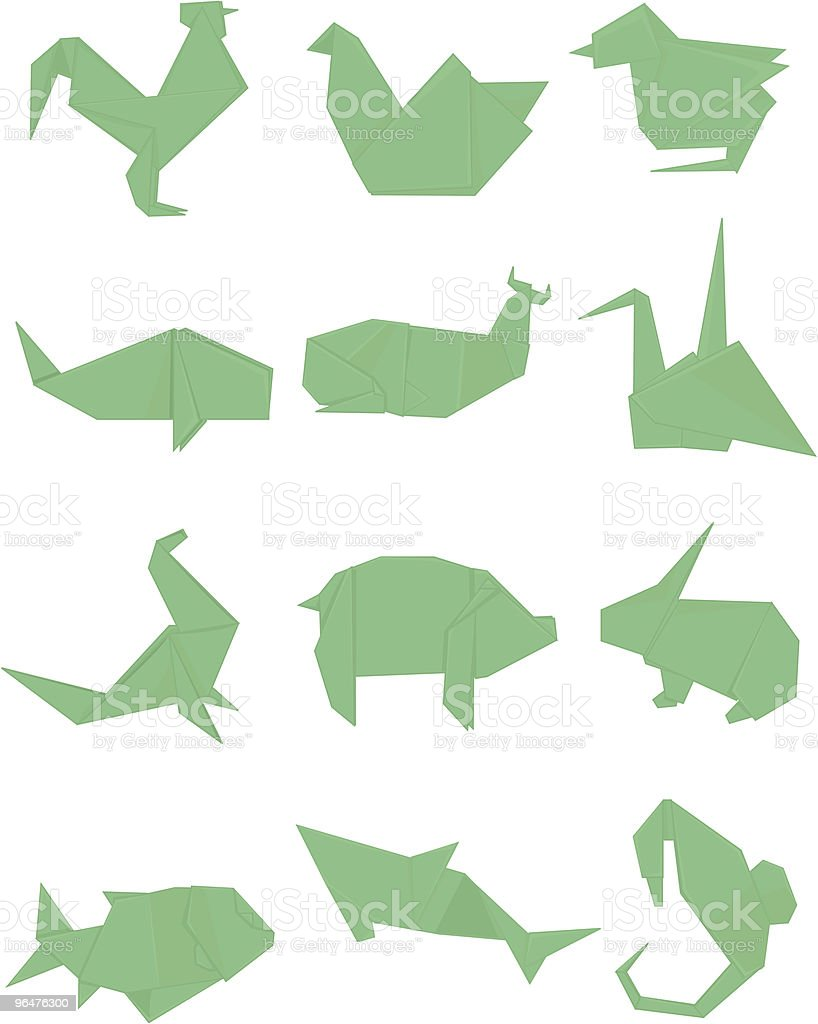Green Origami Set royalty-free green origami set stock vector art & more images of animal
