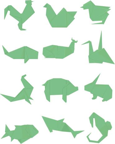 Green Origami Set