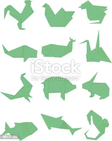 Green Origami Set Stock Vector Art & More Images of Animal 96476300