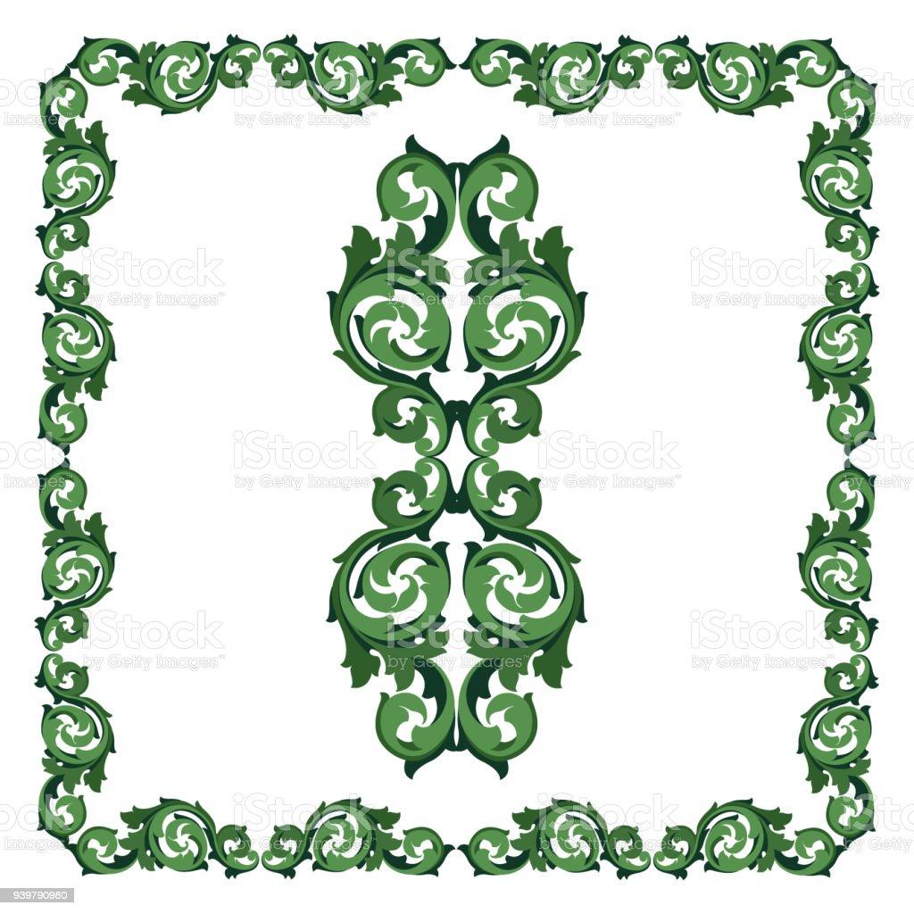 Ornament In Form Eines Elements Und Einen Rahmen Grün Stock Vektor ...