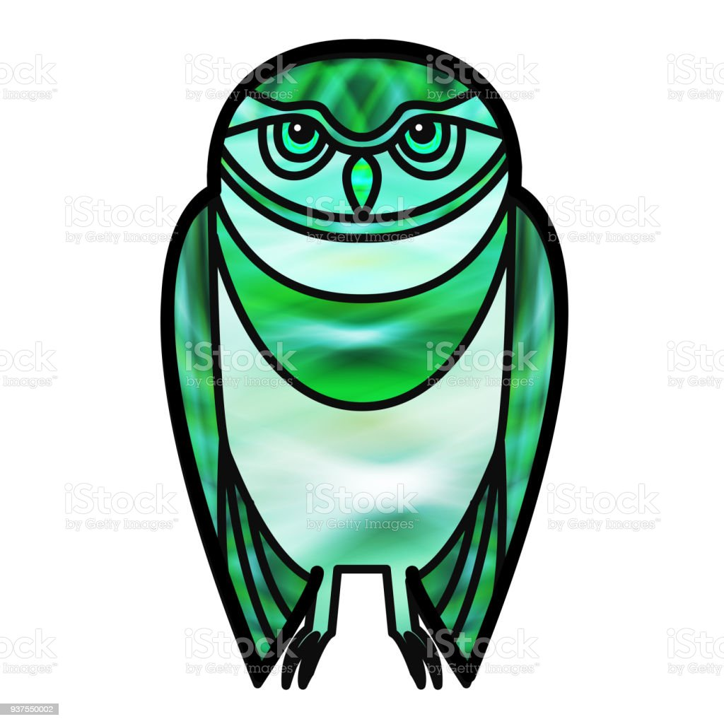 Green Owl in Stained Glass Style vector art illustration