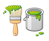 Green paint brush and bucket can