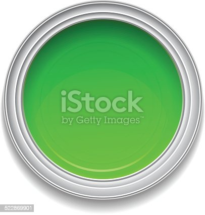 istock Green paint can 522869901