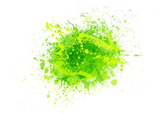 zielony rozprysk farby - spray stock illustrations