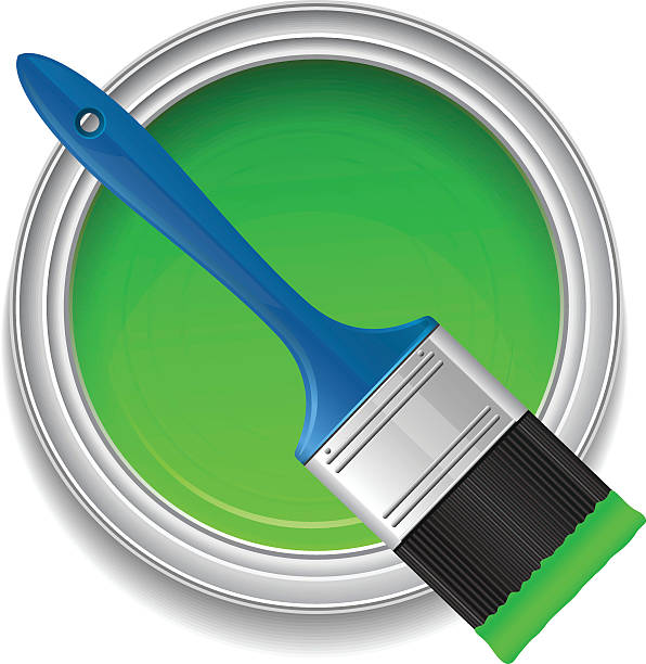 Green paint with paint brush Green paint with paint brush, vector illustration paint can stock illustrations